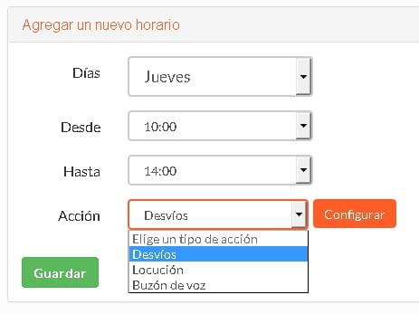 horario de desvío de líneas IP