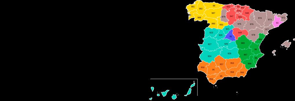 mapa de prefijos españa